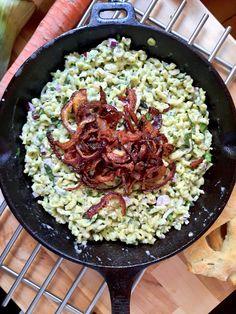 at Mains % Spaetzle Maker, Spaetzle Recipe, Spatzle, Austrian Recipes, Wild Garlic, Minced Onion, Fried Onions, Your Recipe, Farmers Market