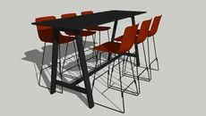 3D Model of High Bykato table with 6 x Pato barstools