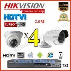 Lắp đặt trọn gói 4 camera HIKVISION 2.0M 1080P