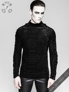 Steam Punk Gothic Men Pullover Knit Sweater Sweatshirt Jumper Buttons Mock Neck