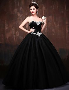 fa1bdc5535f9a Formal Evening Dress - Black / Daffodil Petite Ball Gown Sweetheart Floor- length Lace /
