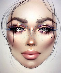 Ideas Fashion Ilustration Face Make Up Hair For 2019 Makeup Goals, Makeup Inspo, Makeup Inspiration, Beauty Makeup, Eye Makeup, Hair Makeup, Drugstore Beauty, Facechart Mac, Facechart Makeup