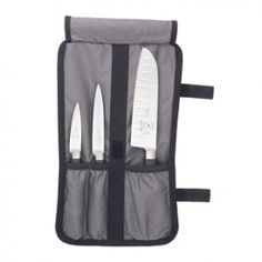 """Mercer 4pc Starter Knife Set   Features:  One-Piece, Fully Forged Superior High Carbon, Stain-Free German Steel  Razor Sharp, Long Lasting Taper Ground Edges  Non-Slip Comfortable Santoprene? Handles  Excellent Balanced Bolster  NSF Certified  Set Includes:  7"""" Santoku  5"""" Utility  3.5"""" Paring  Heavy-duty professional storage roll"""