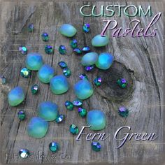 Swarovski's 4470 Fern Green crystal is Custom Coated with E. Ashley's Custom Pastel Effect Swarovski Stones, Fern, Pastels, Diy Jewelry, Turquoise Necklace, Beading, Delicate, Buttons, Pearls