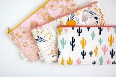 Zipper Pouch, Pencil Pouch, Pencil Case, Desert, Cactus, Floral,, College, Kids, School Supplies, Teens, Women, Organize by AppleWhite on Etsy