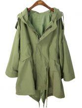 Green Hooded Batwing Long Sleeve Zipper Trench Coat $60.8  so cute!
