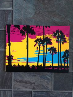 Sunset in Los Angeles stencil art by AbstractGraffitiShop on Etsy