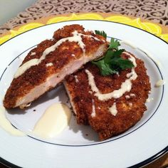 Pretzel crusted chicken with mustard cheese sauce.  Delish!  Check out the recipe!