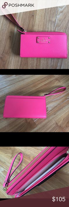 Kate spade zip around Layton wallet in cabaretpnk Nwt, never been used so no signs of wear or damage. Wristlet style wallet with zipper closure. kate spade Bags Wallets