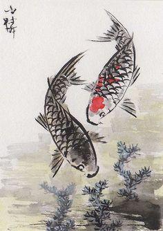 fish art | ... Chinese Art: LinLi Orig Art ACEO Watercolor Painting KOI Carp Fish