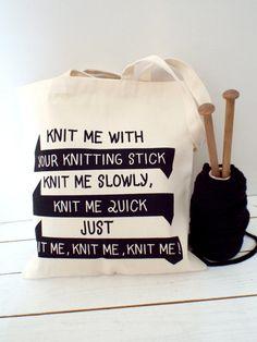 Knit me yarn bag. Heavy Duty Canvas by KellyConnorDesigns