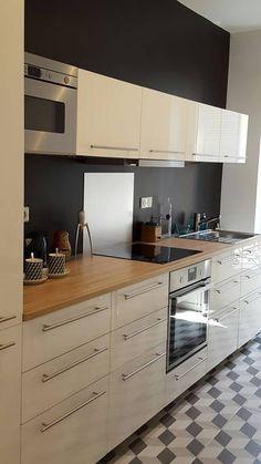 jolie cuisine gris perle et bois Ikea veddinge et crédence en