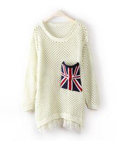 Beige Long Sleeve Union Jack Pocket Open Stitch Jumper