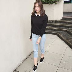 Peter Pan Collar Top Fashion of Sofia Andres Fashion Pants, Girl Fashion, Womens Fashion, Filipino Fashion, Girl Outfits, Casual Outfits, Outfit Goals, Outfit Ideas, Everyday Outfits