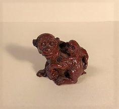 """1.5″ Vintage Ceramic Monkey Figurine, """"Mama & Baby Monkey Pose"""""""