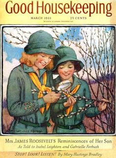 Girl Scouts investigate horticulture on the March cover of Hearst Magazines' Good Housekeeping, United States, by Jessie Willcox Smith. Vintage Girls, Vintage Children, Vintage Ads, Vintage Ephemera, Vintage Images, Old Magazines, Vintage Magazines, Vintage Books, Jessie Willcox Smith
