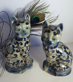 Mothers Day Sale Pair of Staffordshire Style Cat by JJsBottega