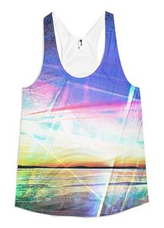 Electric Bay – Women's Racerback Tank // Axly // A sunrise over Mount Desert Island in Downeast Maine. Cerulean and Lapis blue skies are electrified with golden flames of pink and red - gorgeous and all time favorite design. Flattering A-line cut. A vibrant sublimated American Apparel tank top made of 100% polyester jersey construction. The fabric is soft, lightweight and comfortable. Designed, Sewn, and Printed in the United States. Sweatshop Free.