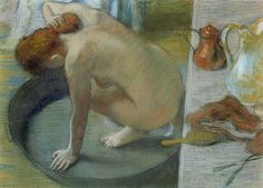 """Edgar Degas, The Tub, 1886, Pastel, Musée d'Orsay. Edgar Degas is an Impressionism artist. Impressionism means to capture fleeting sensation and the paintings are constructed from freely brushed colors that took precedence over lines and contours. (""""Impressionism."""" Wikipedia. N.p.. Web. 6 Mar 2013.) Still, Degas retained the importance of another formal element, line - outlines and contour strokes of the subjects being soft and light and made harmony to the piece."""