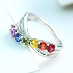 LGBT Pride Rainbow Statement Ring Sterling Silver by Equalli