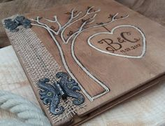 Wedding album guest book .Rustic recycled wood.