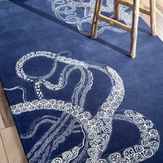 nuLOOM Octopus Tail 122x182cm Rug, Navy Blue | ACHICA