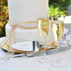 Personally Engraved Gifts  - 50th Wedding Anniversary Flutes