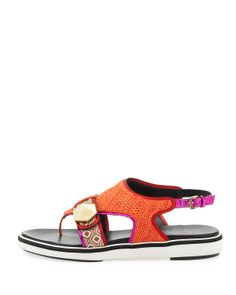 Nicholas Kirkwood Flat Rubber-Sole Mixed-Fabric Sandal, Orange - Neiman Marcus