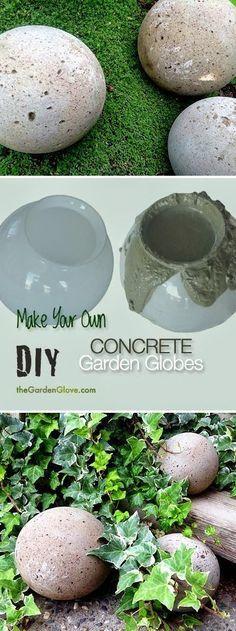 DIY Concrete Garden Globes - Make your own concrete garden globes using old glass light shades ! => Avec 4 recettes pour différents aspects