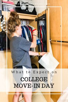Learn what to expect on college move-in day from two moms who've been there! We share our 16 tips & tricks to make move-in day go smoothly! College Freshman Tips, College Packing, College Dorm Rooms, College Hacks, College Graduation, College Ready, College Survival, School Hacks, Graduation Ideas