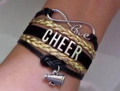 Cheer bracelet, Infinity love cheer Bracelet, Cheerleader bracelet, cheerleading gift, megaphone bracelet, black/gold color