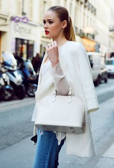 love this (almost) all white look: Louis Vuitton and a red lip