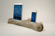 iPad and iPhone 5 Driftwood Dock. Made in Maine