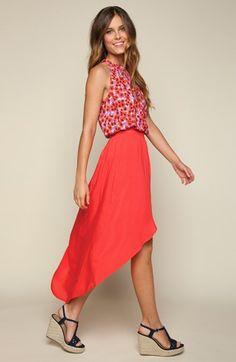 Splendid Print Tank & High/Low Faux Wrap Skirt