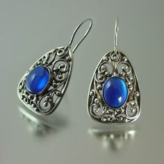 GERTRUDE Sapphire silver earrings by WingedLion on Etsy, $210.00