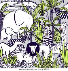Seamless pattern with wild animals : elephant with elephant, zebra, camel, tiger, lion, giraffe, crocodile, hippopotamus. Coloring, drawing wallpaper. Vector illustration.