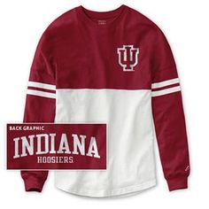 Long sleeve spirit jersey with red top half and white bottom half. Front of jersey has outlined IU logo and back has Indiana Hoosiers printed. 100% Cotton. Cheer on the Hoosiers in comfort and style. Made by League®