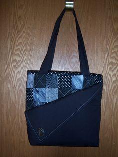 Cloth Handbag Fabric Purse Handmade Black And White By Mawmaws On