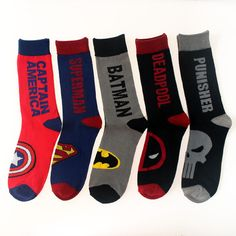 Marvel Comics Socks Super Hero DEADPOOL BATMAN PUNISHER Cartoon Men s Socks SK01