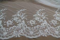 Haft/Koronka ślubna H23 - biały Textilmania