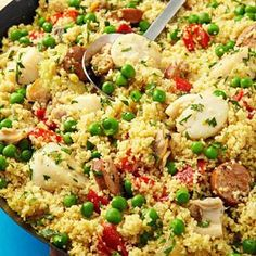 Scallop Couscous Paella Recipe - alter recipe to avoid seafood but try the couscous with veggies/seasonings Easy Scallop Recipes, Easy Pasta Recipes, Seafood Recipes, Cooking Recipes, Dinner Recipes, Turkey Recipes, Healthy Weeknight Dinners, Healthy Family Dinners, Healthy Meals