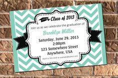 Chevron Graduation Invitation