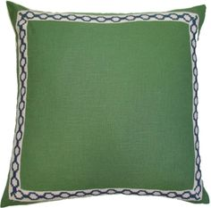 #16 Kelly Green Linen Pillow With Navy Hampton Trim