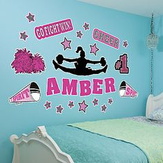 "The over-sized Cheer Wall Decals feature a cheerleader, the words ""Cheer"" and ""Go Fight Win!"", megaphones, poms, and pink and silver stars in a variety of sizes. Cheerleading Decorations, Dorm Decorations, Cheerleading Pictures, Room Ideas Bedroom, Girls Bedroom, Room Decor, Cheerleading Bedroom, Gymnastics Bedroom, Cheerleading Workouts"
