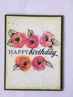 Birthday card. Altenew painted flowers