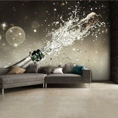 "Prosecco Champagne Bottle Explosion Mural - $180 - Prosecco Champagne Bottle Explosion Wall Mural  This stunning wall mural features a prosecco champagne bottle explosion, ideal for wallpapering bars and hotels.  High quality durable wallpaper with easy to follow hanging instructions.  Designed in four easy to hang pieces giving overall design width of 3.15m (10ft 4"") x 2.32m (7ft 7""). If your wall is larger than the wall mural you can centre the wall mural in the middle of your wall for a…"