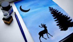 www.juf-lisanne.nl Knutselen voor de bovenbouw: winterse silhouetten maken met Oost-Indische inkt & ecoline.