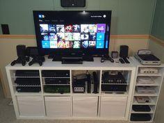 Kallax shelving unit as a TV stand. Console Storage, Bedroom Storage, Diy Storage, Diy Bedroom, Bedroom Ideas, Storage Ideas, Storage Organization, Console Shelf, Shelf Ideas