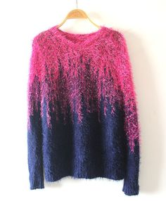Pink Blue Mohair Sweater in Gradient Color