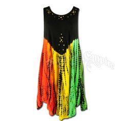Rasta and Reggae Tie Dye Dress @ HippieHero.com from hippiehero.com